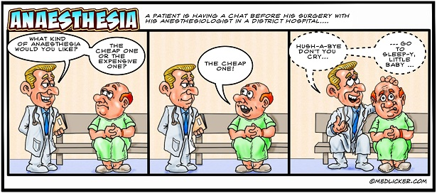 Medical Comic: Cheap Anaesthesia