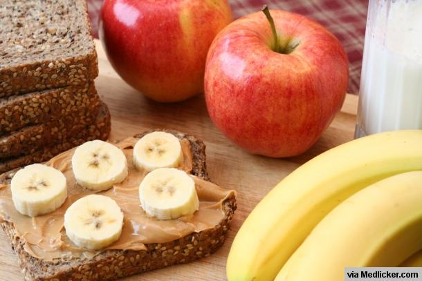 Chléb, banán a jablka