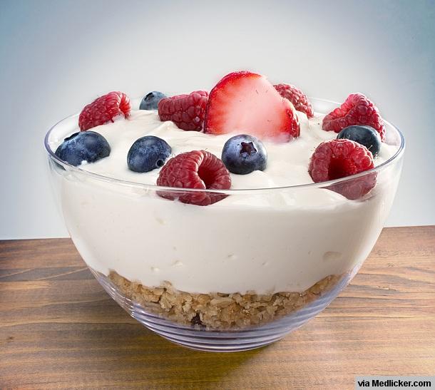 Řecký jogurt, ovoce a semena