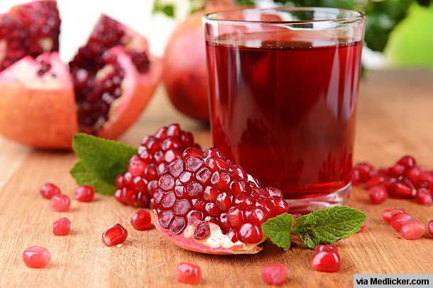 Pomegranate juice in glass
