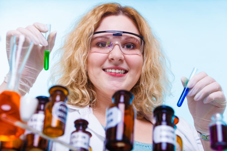Girl in pharmaceutical lab