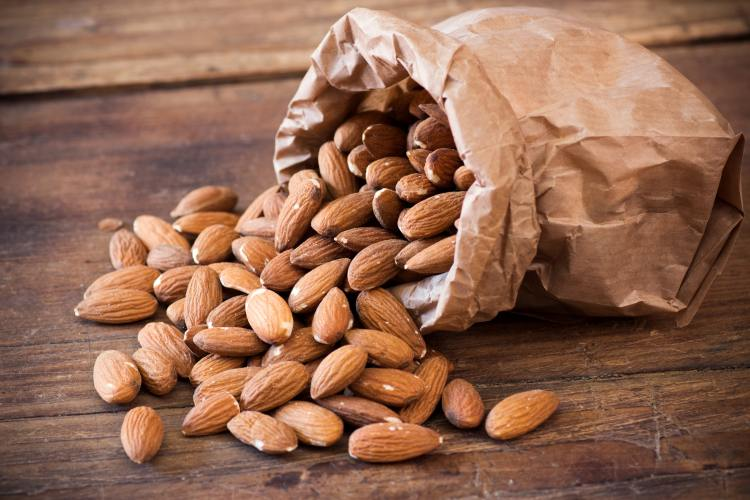Almonds in paper bag
