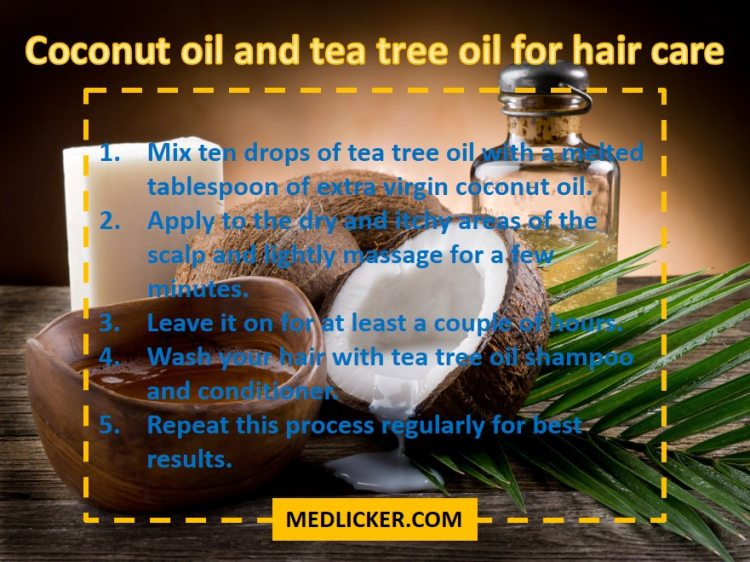 Coconut oil and tea tree oil for hair care