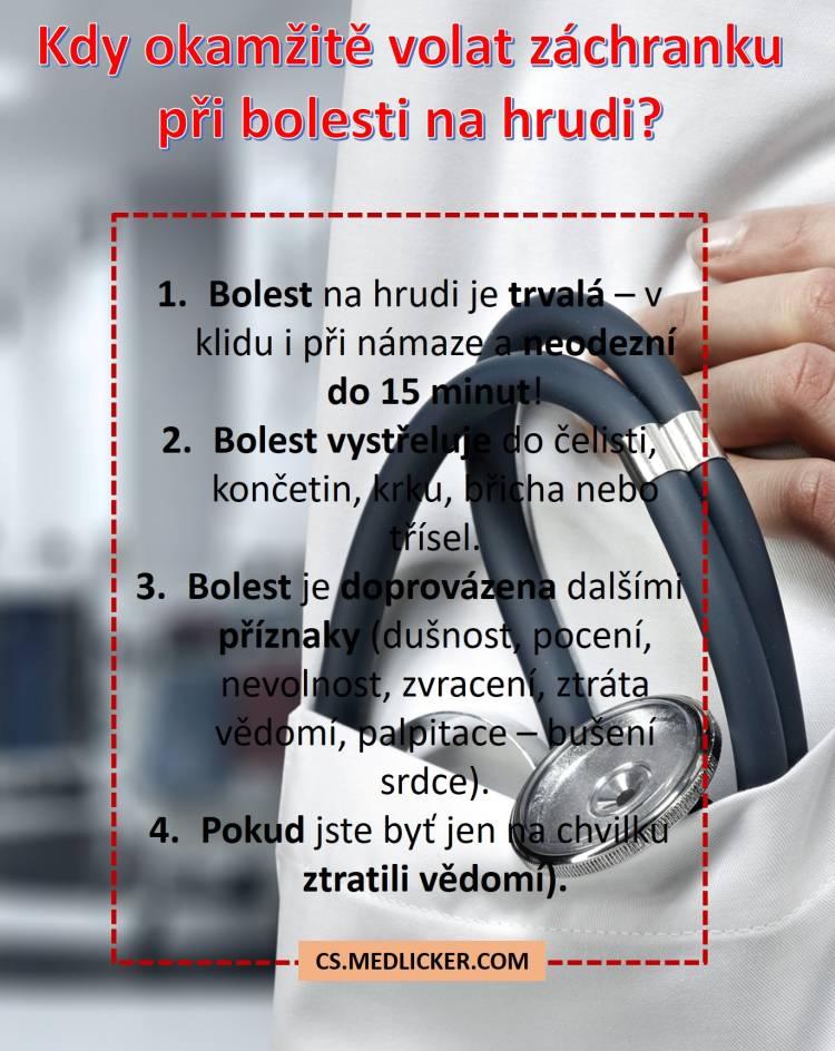 Kdy je potřeba okamžitě volat záchranku při bolesti na hrudi?