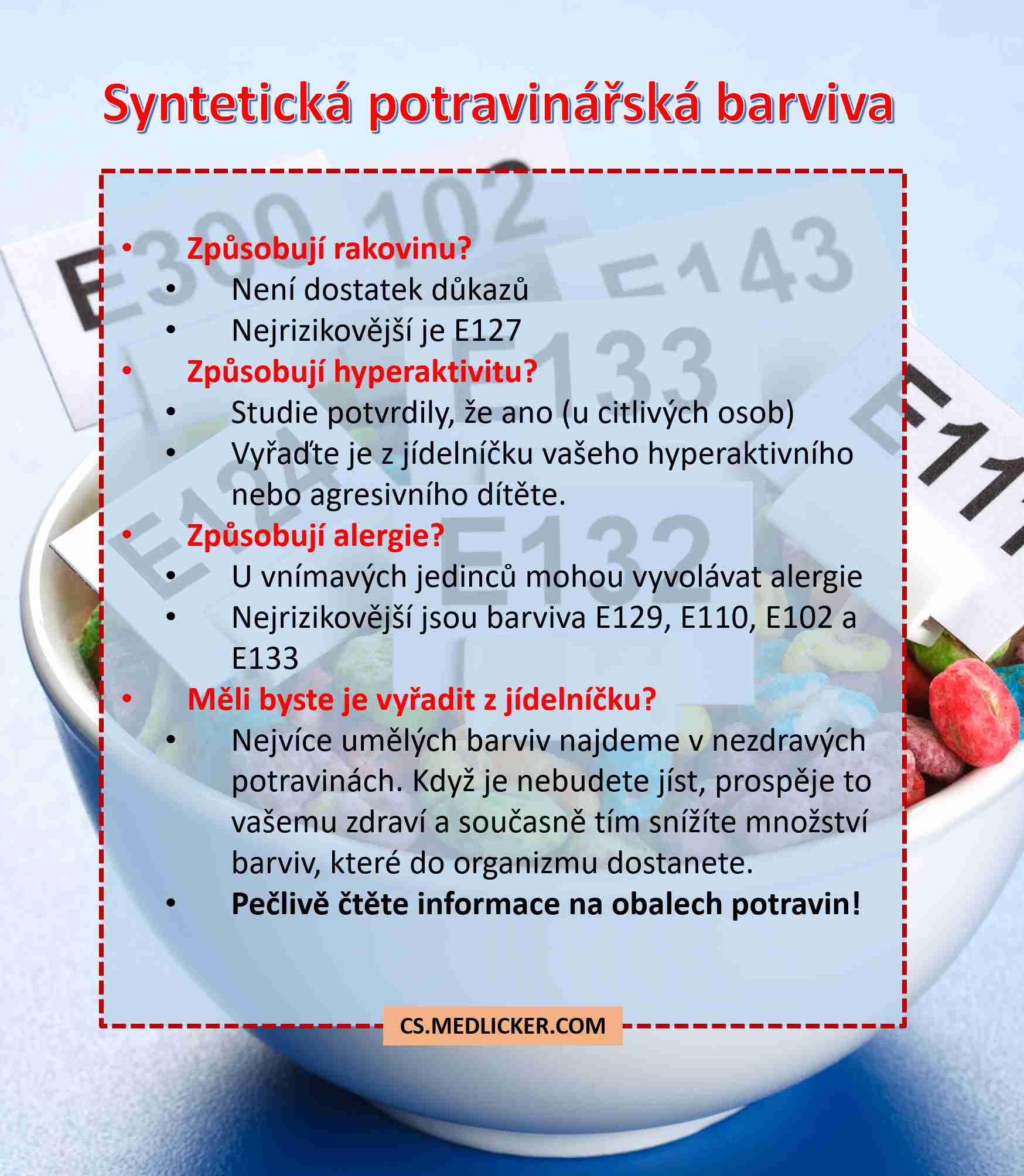 Syntetická potravinářská barviva - přehled rizik a prevence
