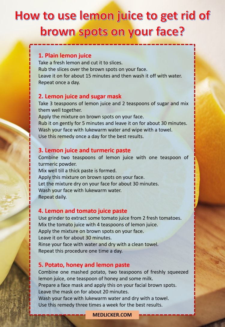 Lemon juice as a remedy for brown spots on your face