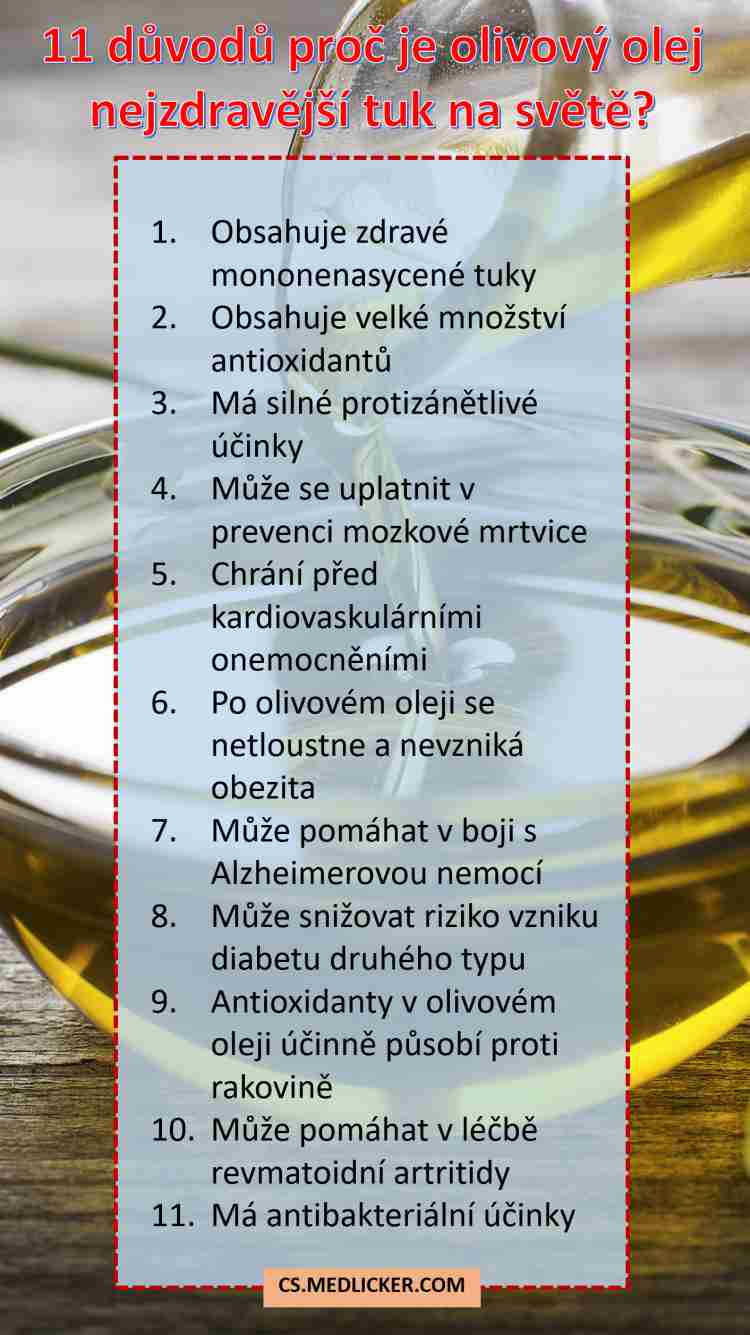 Olivový olej má řadu kladných účinků na vaše zdraví
