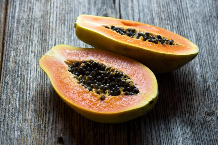 Papayas are fairly rich in vitamin B9