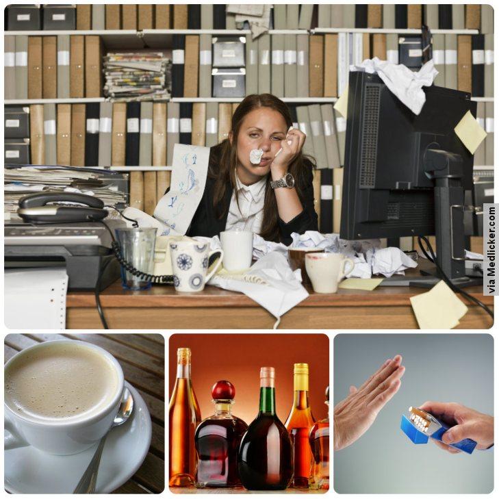 Příčiny únavy: nepořádek na stole, příliš mnoho kávy a alkoholu a neschopnost říci ne
