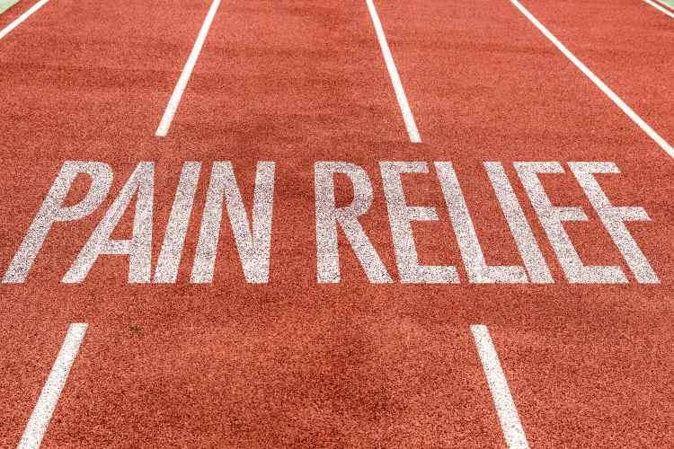 Pain relief label on stadium