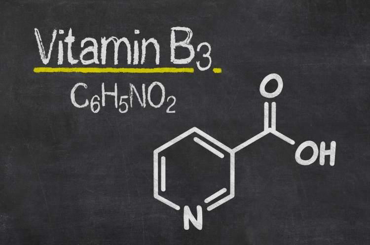 Chemická struktura niacinu (kyselina nikotinová)